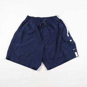 90s Nike XL Small Swoosh Logo Cargo Shorts Blue